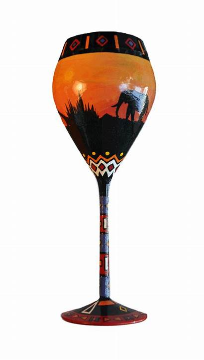 Wine Glass Painting Painted Animation African Hand