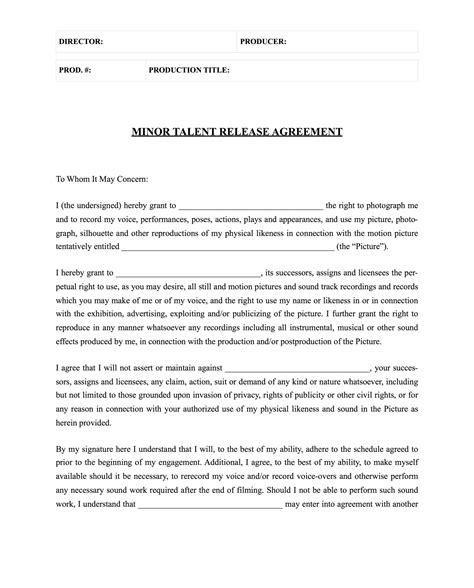 release form template free actor release form template
