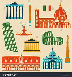 Landmarks Italy Vector Colorful Geometric Flat Stock ...