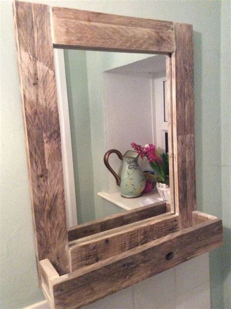 wooden bathroom mirrors rustic bathroom mirror made from reclaimed pallet wood 1522