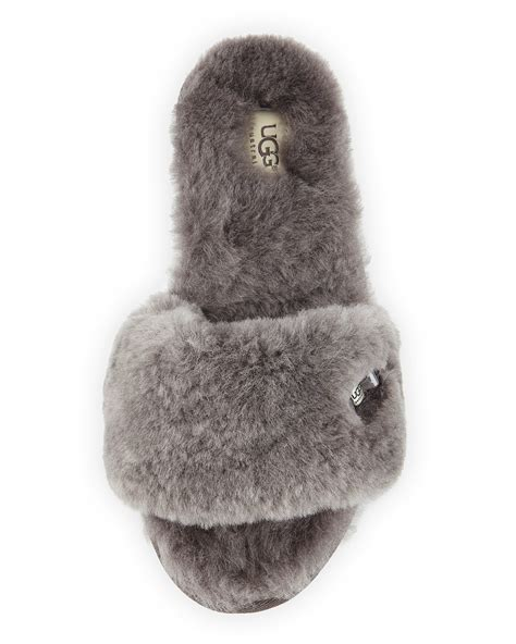 lyst ugg fluff shearling fur  slipper  gray