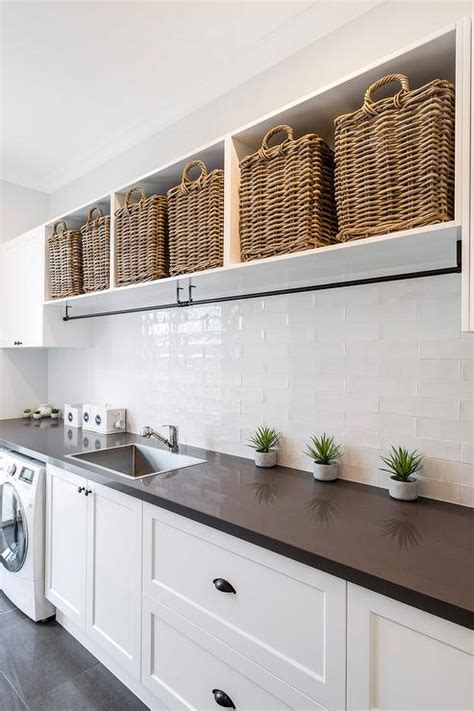 laundry room shelf with drying rack transitional