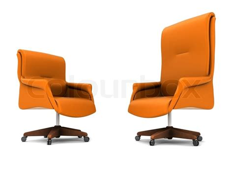 orange office chair isolated on white background stock