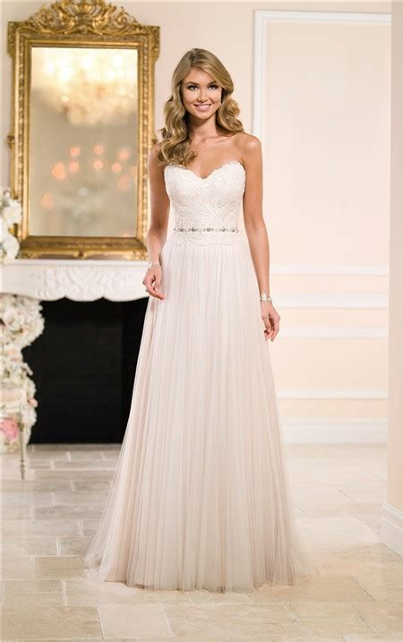 sheath strapless lace tulle flowing wedding dress crystals