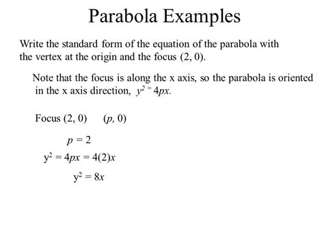 find standard form equation parabola 4 4 conics recognize the equations and graph the four