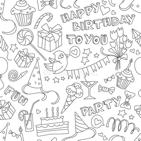 happy birthday doodle black and white seamless