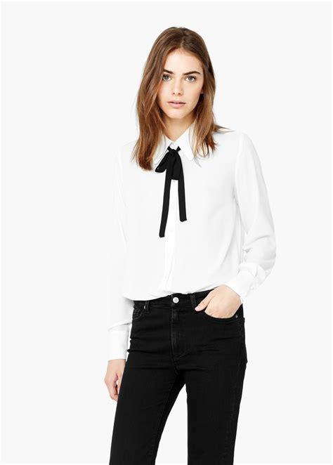 tie blouse tie neck blouse mango usa