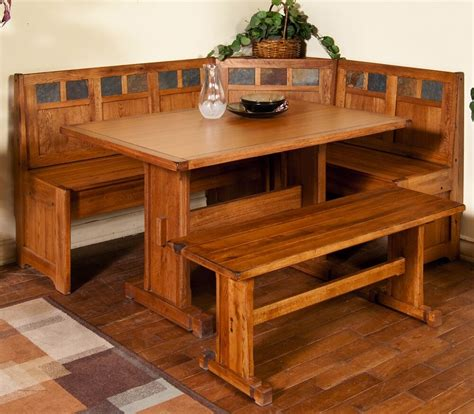 piece corner breakfast nook set rustic oak bench table
