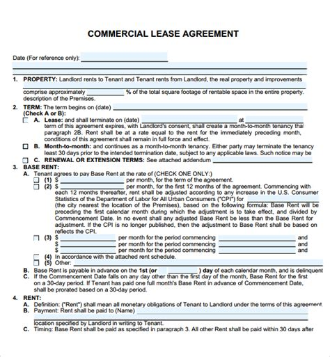 commercial restaurant lease agreement  printable