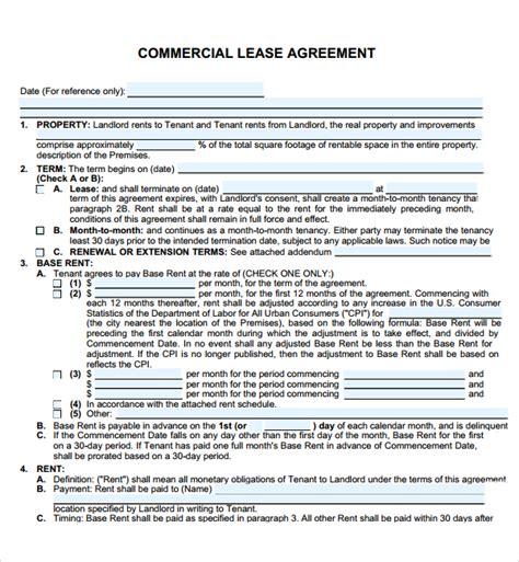 commercial restaurant lease agreement  printable