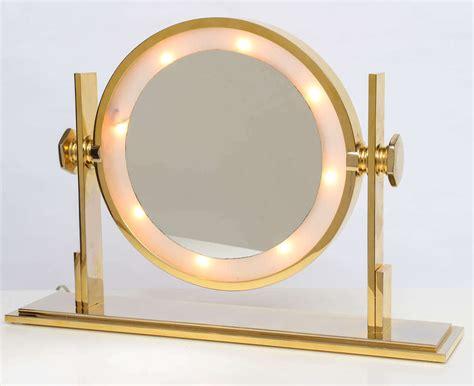 table top lighted vanity mirror karl springer lighted table top vanity mirror at 1stdibs