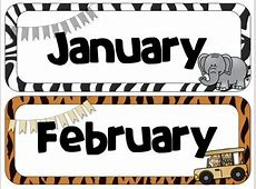 Safari Theme Calendar Headers Months and Days of the