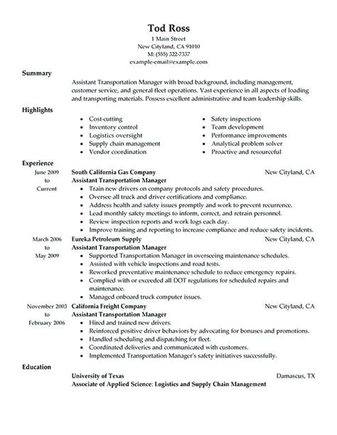 Management Experience Exles by Assistant Manager Transportation Fleet Manager Resume