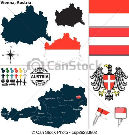 vector clipart  map  vienna austria vector map