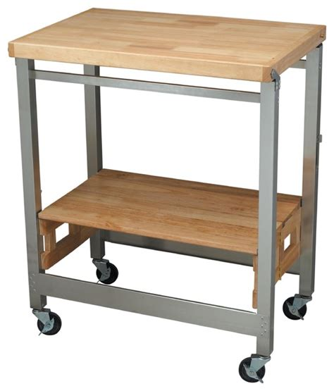oasis island kitchen cart oasis concepts stainless steel wood flip fold natural finish contemporary kitchen islands