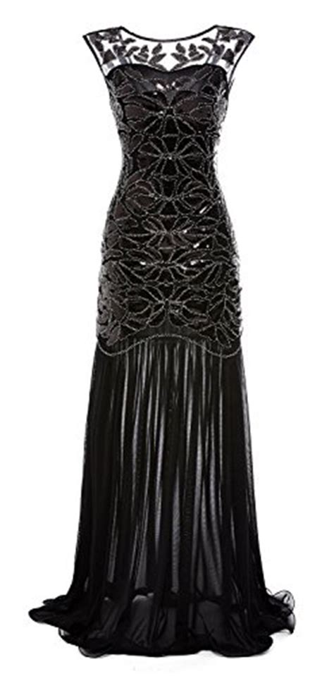 gastbypty womens  black sequin gatsby maxi long