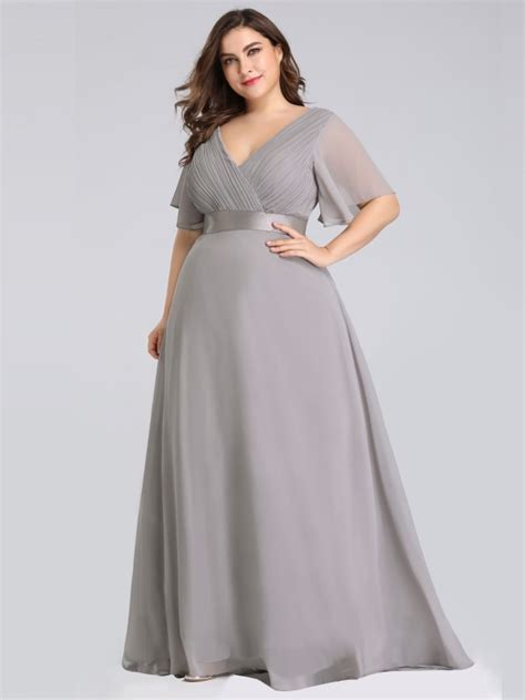 size  neck grey evening dress  flutter sleeves