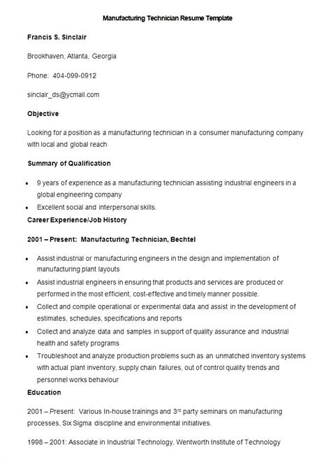 sle manufacturing technician resume template free
