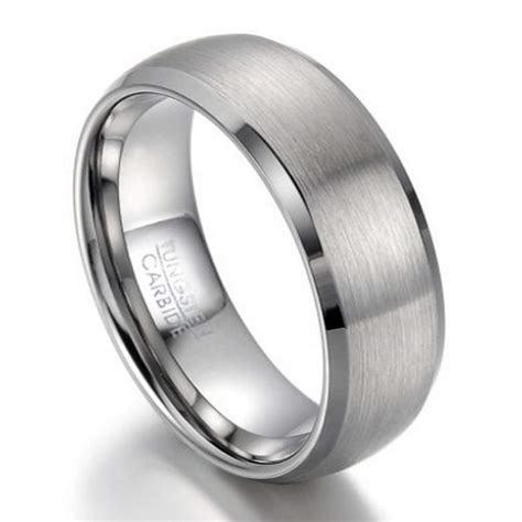 mens tungsten wedding band beveled edges mm width