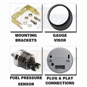 52mm Glowshift Tinted 100 Psi Fuel Pressure Gauge W Sensor