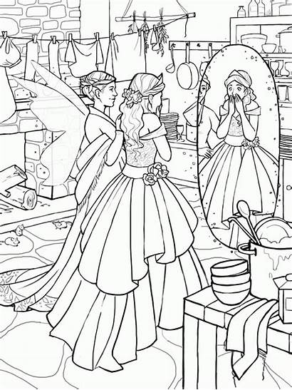Cinderella Drawings Clipart Line Drawing Coloring Zu