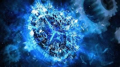 Glass Shattered Broken Digital Gears Desktop Clocks