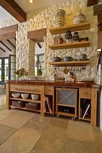 deco pierre pour les murs de la cuisine en 49 exemples With idée décoration mur de cuisine