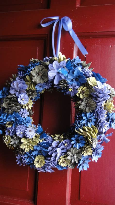 hand painted  cut pinecone flower wreath visit www