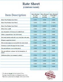 Rate Sheet Template Ms Word Rate Sheet Template Free Formal Word Templates