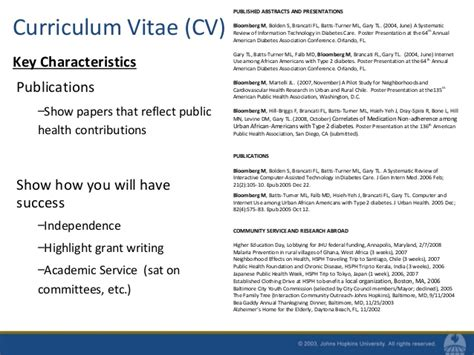 Personal Qualities In Curriculum Vitae by Resumes And Cvs For Mph Students Fall 2010