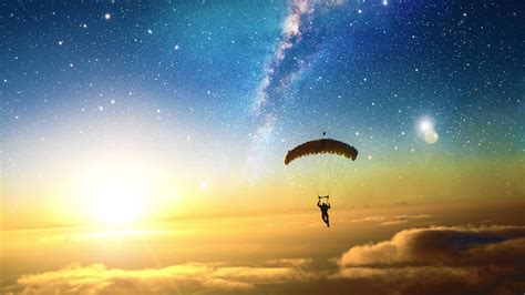 digital art skydiving sun stars clouds liquicity