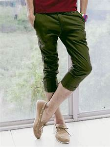 Summer New Fashion Men Pure Color Casual Cropped Pants Army Green