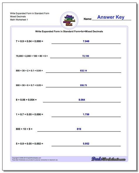 write expanded form numbers  standard form