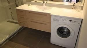 Lave Linge Dans Salle De Bain : meuble contemporain ton bois avec lave linge int gr ~ Preciouscoupons.com Idées de Décoration