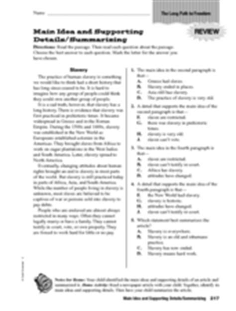 pictures main idea worksheets 8th grade leafsea