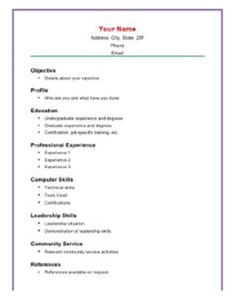 Resume Basic Knowledge by Resume Outline Simple Resume Exles And Resume Exles