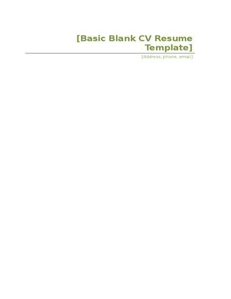 basic blank cv resume template