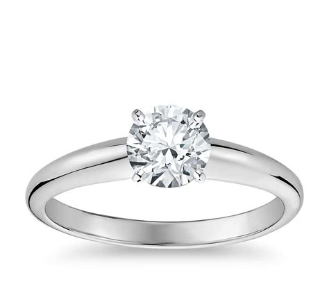 classic simple solitaire engagement ring in 14k white gold blue nile