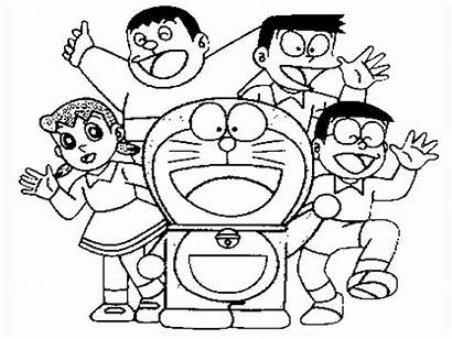 Doraemon Coloring Friends Drawing Pages Sketch Draw