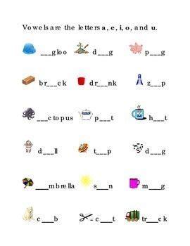 short vowels      fill   blanks kindergarten