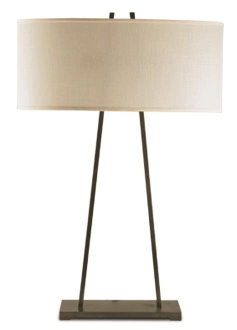 """B144L   """"A"""" Frame Bronze Table Lamp with Oval Shade"""