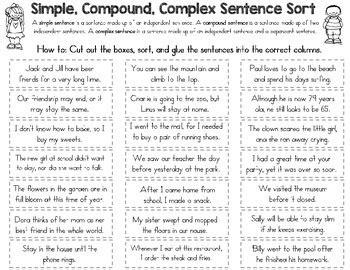 simple compound  complex sentence sort  rock paper