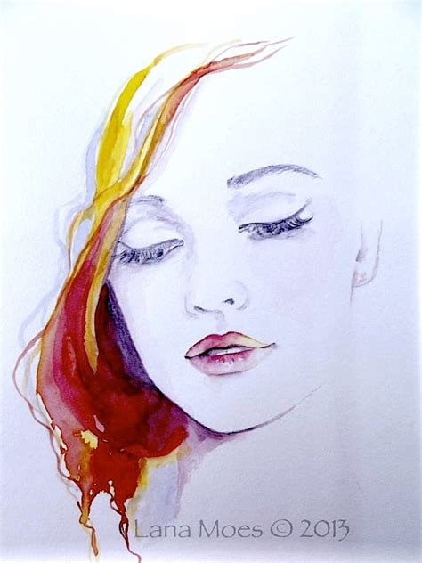 original fashion watercolor painting contemporary modern wall