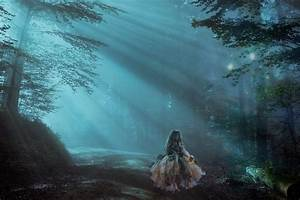 Little, Girl, Alone, At, Night, In, Misty, Forest, 5k, Retina, Ultra, Hd, Wallpaper