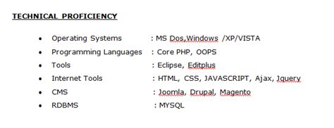 Technical Skills Resume Freshers by How To Create Fresher Php Resume Professional Format Offcusjobs In