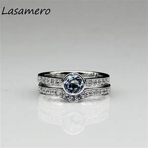 lasamero 14k white gold natural aquamarine ring natural With natural stone wedding rings