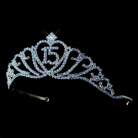 large rhinestone silver covered sweet sparkling sweet 15 quinceaera tiara covered light blue