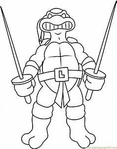 Leonardo With Swords Coloring Page - Free Teenage Mutant ...