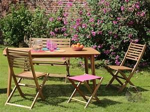 Salon De Jardin Acacia : table bois joli ~ Teatrodelosmanantiales.com Idées de Décoration