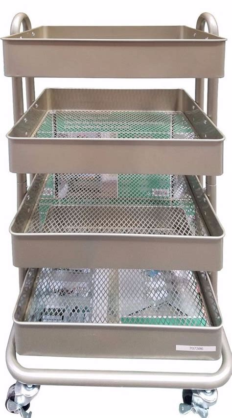 Island Trolley Kitchen - sr 4 tier rolling cart with 4 adjustable metal bins with mesh bottoms indoor use ebay